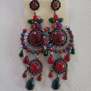 New Multicolor Petal Gemstone Chandelier Earrings